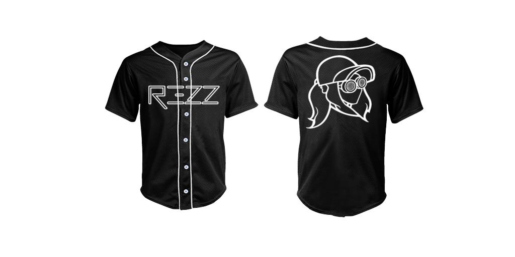REZZ Black Baseball Jersey Face on Back
